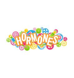 Concept mechanism human hormones emblem vector