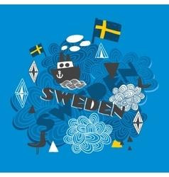 Cool pattern with swedish symbols vector