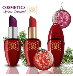 cosmetics realistick lipstick and mascara vector image
