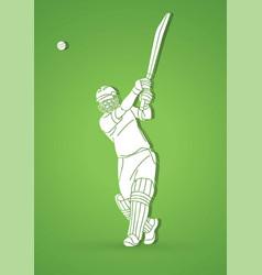 Cricket player action cartoon sport graphic vector