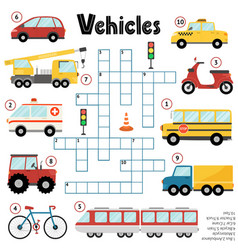 Crossword puzzle game for kids about vehicles vector