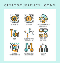 Cryptocurrency icons concept vector