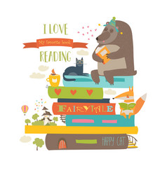 Cute cartoon animals reading books vector