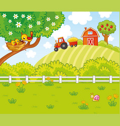Cute in cartoon style with a farm and vector