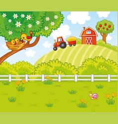 cute in cartoon style with a farm vector image