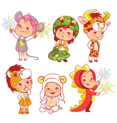 Cute little baby wear carnival costumes vector