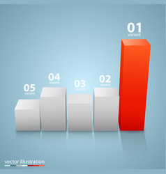 data 3d growth chart vector image