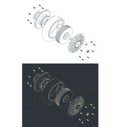 Disassembled turbo pump isometric blueprints vector