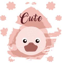 Duck cute animal cartoon vector