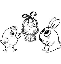 easter basket with the eggs easter rabbit and vector image