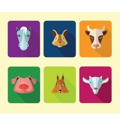 Farm animals icons format vector