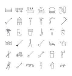 farming equipment garden icons set outline style vector image