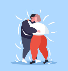 Fat obese couple dancing together overweight man vector
