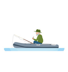 Fisherman is fishing in river in rubber boat vector
