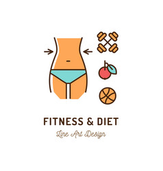 fitness and diet icon proper nutrition and vector image
