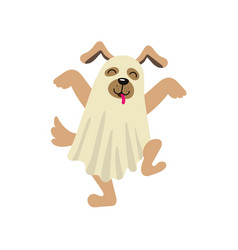 Flat dog dressed up in bedsheet like ghost vector