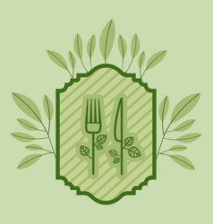 frame with leafs and cutleries healthy food vector image