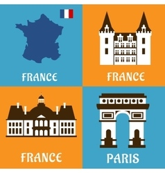 French landmarks and travel flat icons vector