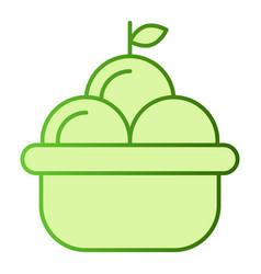 fruit basket flat icon basket of apples green vector image