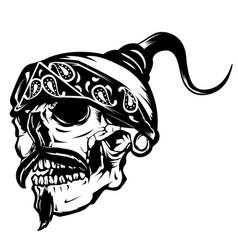 Gangster skull mustache vector