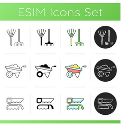 Gardening supplies icons set vector