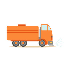 gas carrier orange truck part of roadworks and vector image