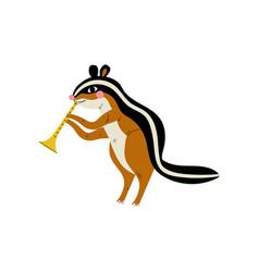 gopher playing trumpet cute cartoon animal vector image