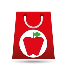 grocery shopping bag apple fruit design vector image