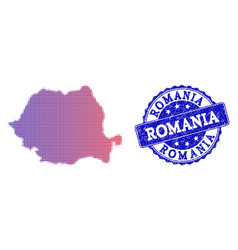 Halftone gradient map of romania and textured vector