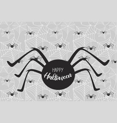 halloween spiderweb background with spiders vector image
