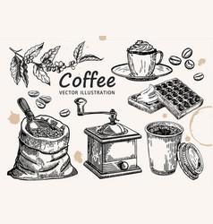 Hand drawn coffee set coffee sketch vector