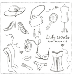 Hand drawn elegant vintage ladies set vector image