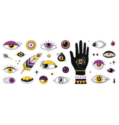 hand drawn eyes doodle contemporary ornamental vector image