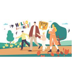 happy family characters walking at spring city vector image