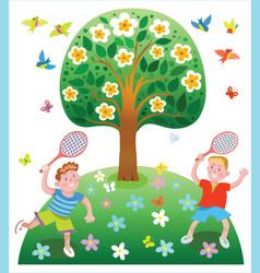 happy kids playing badminton vector image