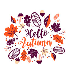 hello autumn floral leaves frame vector image