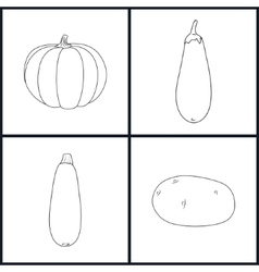 Icons Potato Eggplant Zucchini Pumpkin vector image