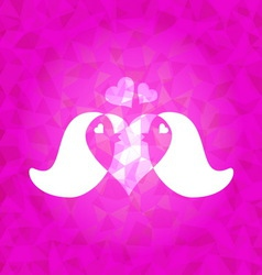 In love couple birds on pink dazzled triangle vector