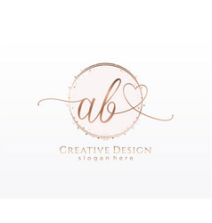 Initial ab handwriting logo with circle template vector