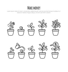 Investment process with money tree and businessman vector