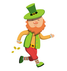 leprechaun with gold coins vector image