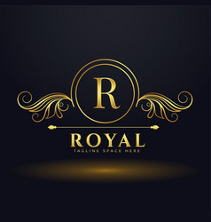 letter r royal luxury logo for your brand vector image