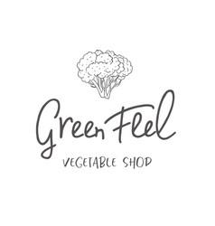 line logo of broccoli vector image