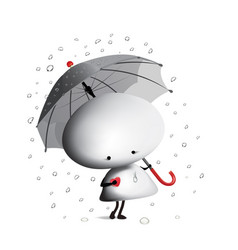little man with an umbrella vector image