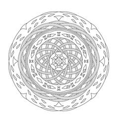 Mandala coloring page abstract and interlaced vector