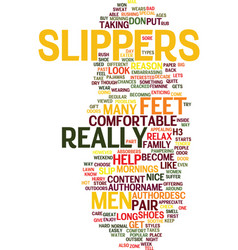 Mens slippers text background word cloud concept vector
