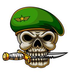 Military commando skull army in beret vector