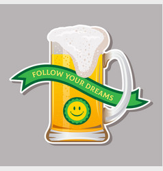 mug with beer sticker vector image