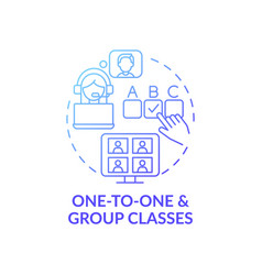 One-to-one and group classes concept icon vector