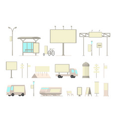 Outdoor advertising media set front view types vector